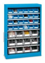 Kovová skriňa bez dverí s policami vrátane plastových zásobníkov