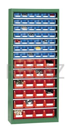 Kovová skříň bez dveří s policemi včetně plastových zásobníků