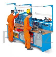 Pracovný stôl modulárny šírka 3000 mm  so zadným panelom