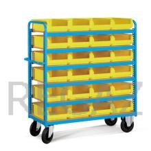 Vozík s prepravkami - drevené police