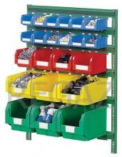 Nástenný regálový stojan vrátane plastových zásobníkov