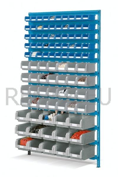Nástěnný regálový stojan včetně plastových zásobníků
