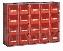 Regálový rám vrátane 20 prepraviek veľkosti 4A5