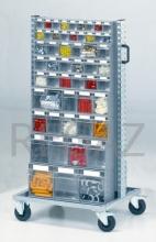 Vozík pro zásobníky s policemi a zásobníky