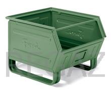Zkosený kovový stohovací box s ližinami