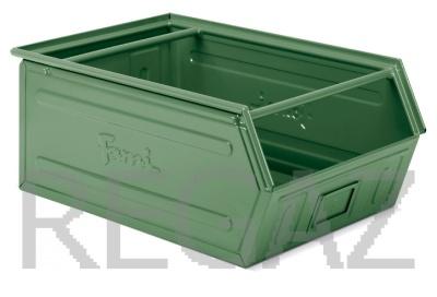 Zkosený kovový stohovací box s dvojitým madlem