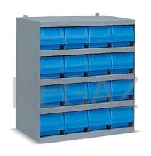 Kovová skrinka s plastovými boxami série Multibox