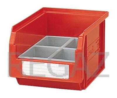 Dělící box pro stohovací zásobníky, se 4 buňkami